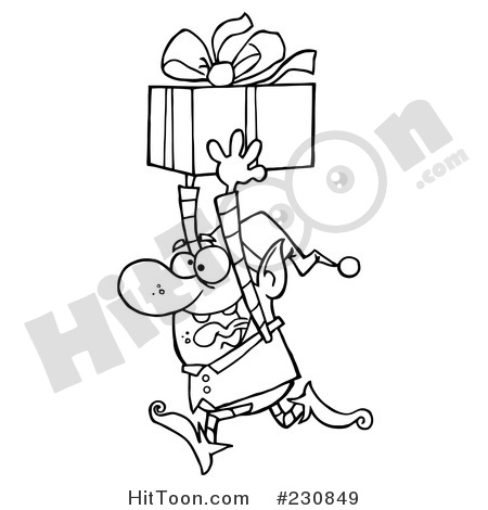 Elf clipart outline A Running Outline Happy Christmas