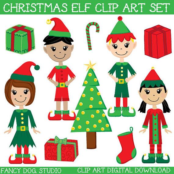 Elf clipart party Digital Downloadable  Santa's Il_570xn