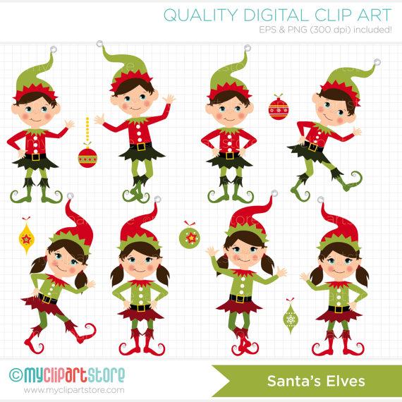 Elf clipart santa's workshop Christmas / Clip Digital /