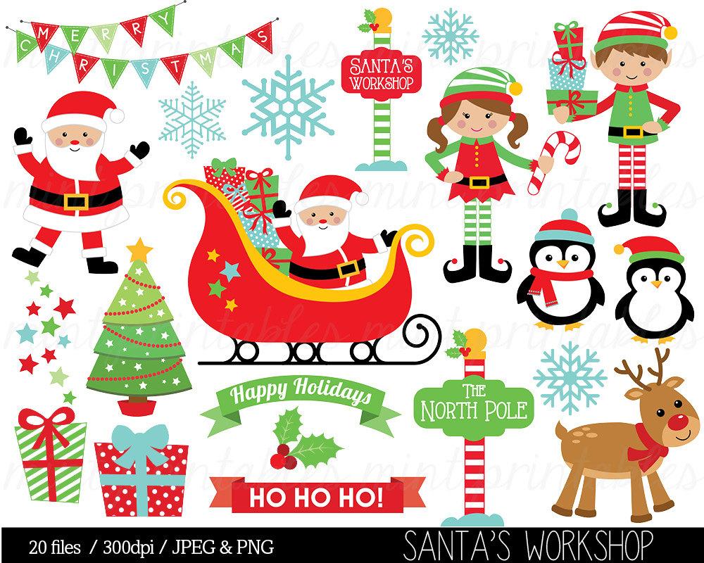 Elf clipart santa's workshop Christmas Santa Art clipart Clipart