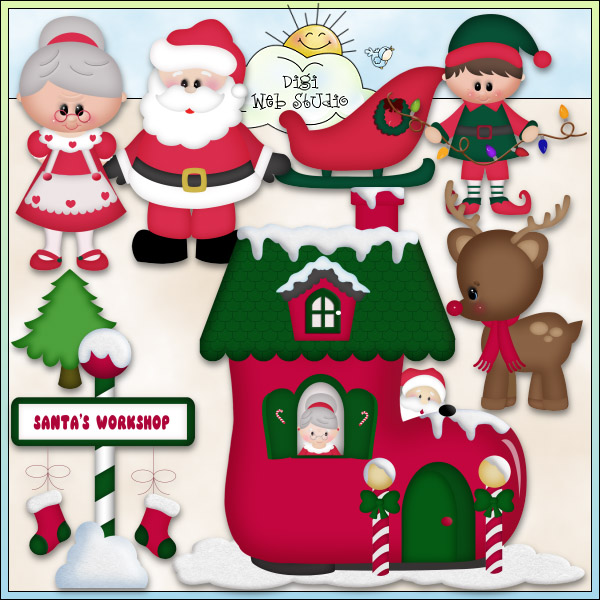 Elf clipart santa's workshop  Christmas Workshop Clip Scrapbooking!