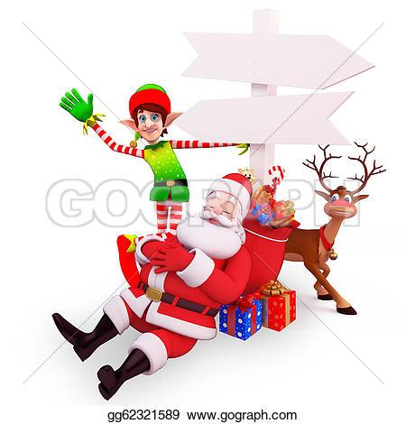 Elf clipart sleepy Of Illustration elves Stock santa