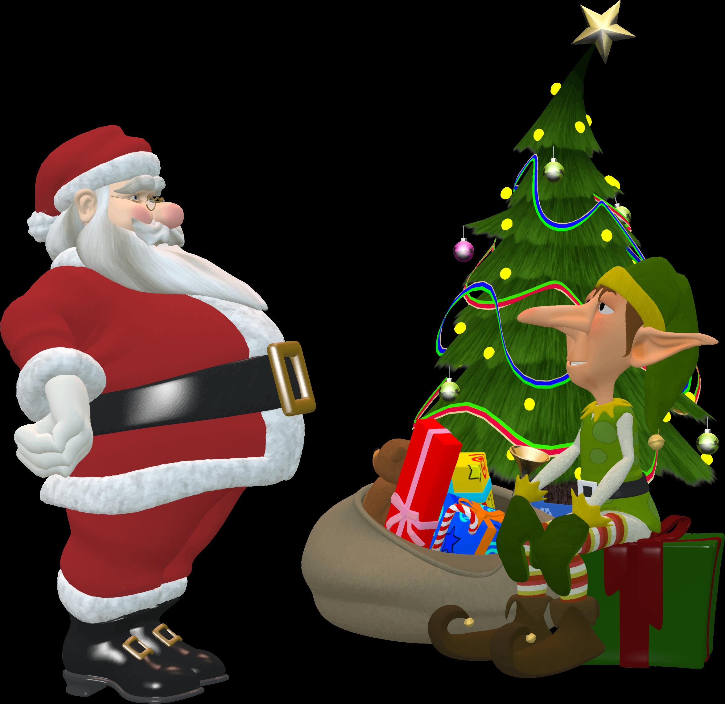 Elf clipart small And Claus And Santa Santa