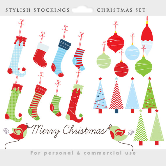 Christmas clipart whimsical Stockings clip art Christmas ornaments