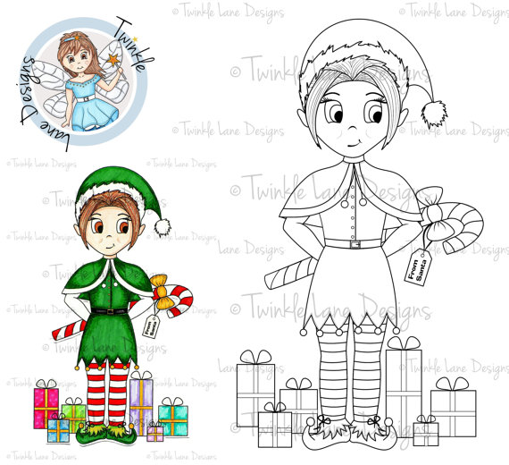 Elf clipart stamp Christmas Stamp Adult Colouring Xmas