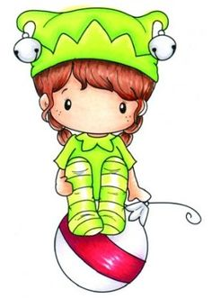 Elf clipart stamp Rainy Pixie Stamp Swiss Cling