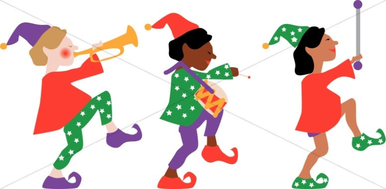 Elf clipart hands Three Elves Marching Elves Traditional