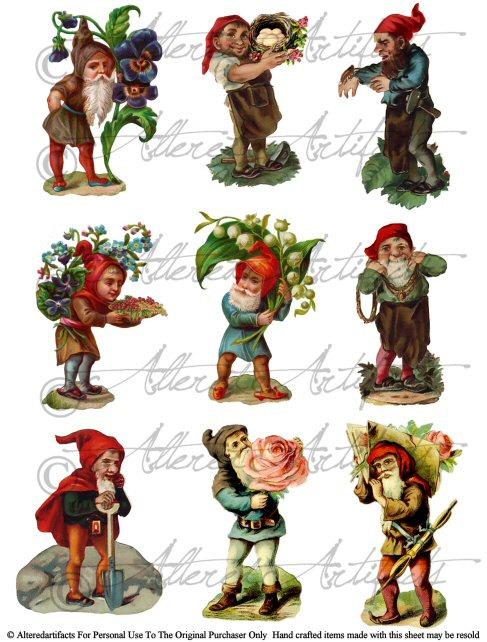 Elf clipart vintage Gnomes Sheet Collage Printabe Paper