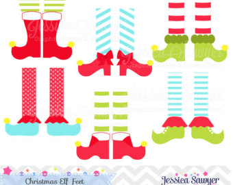 Elf clipart witch leg Christmas commercial clipart Elves Elf