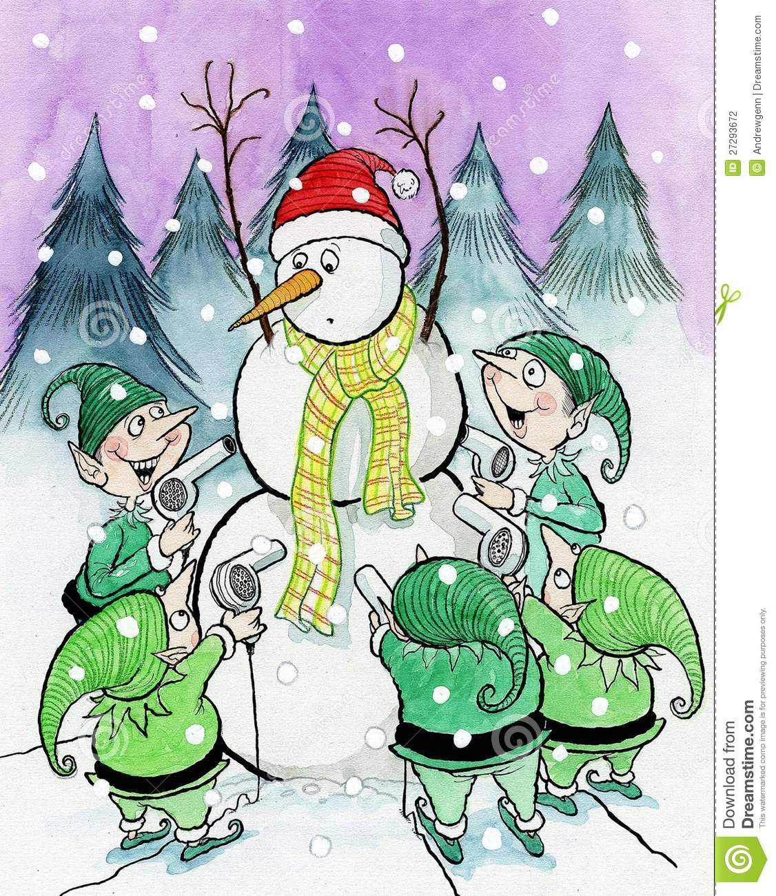 Elf clipart worried A up and Snowman twisted