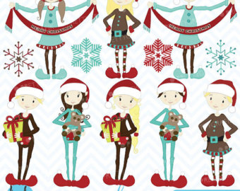 Elfen clipart boy elf Digital Elfen graphics vector use