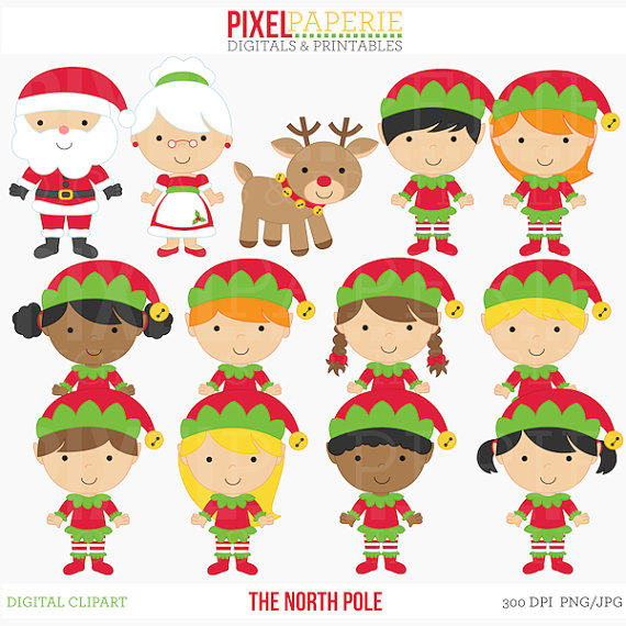 Elfen clipart boy elf North Studio The santa Etsy