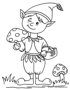 Elfen clipart coloring And elf Punch Coloring Kids