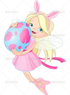 Elfen clipart flying Easter Fairy with Pink Cute