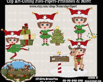 Elfen clipart happy holiday Art Elfen Brunette Elf clipart
