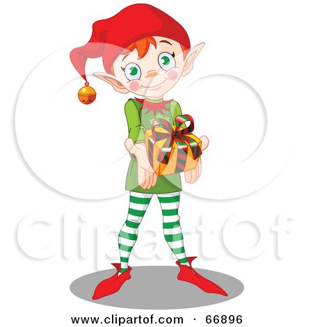 Elfen clipart holding presents Clipart zu Time a Royalty