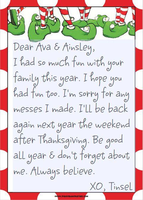 Elfen clipart letterhead On Tinsel's 25+ goodbye letter