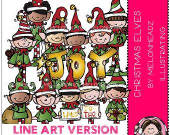 Elfen clipart melonheadz ClipArt STRICHZEICHNUNGEN Elfen Weihnachtswichteln Etsy