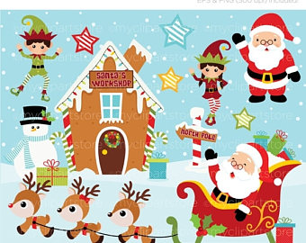 Elfen clipart santa's workshop Digital Elf Workshop graphics north