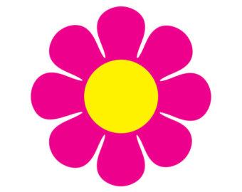 Pink Flower clipart hippie 60s Flowers art flower Sixties