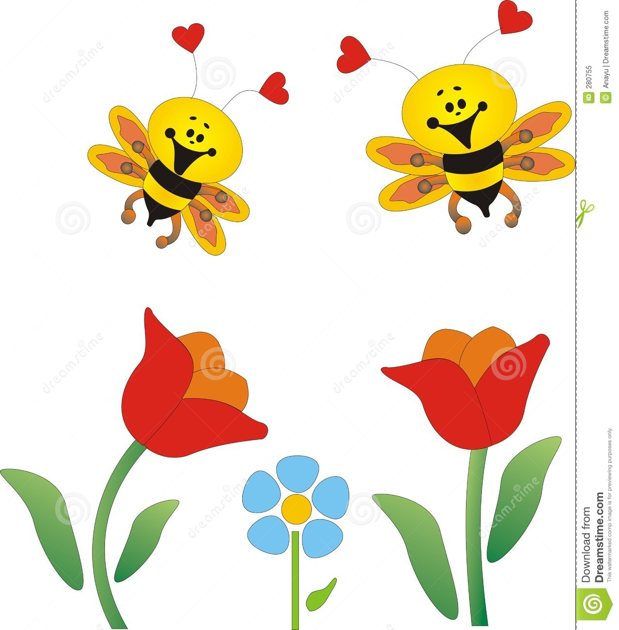 Bees clipart bee flower Royalty collection And Flowers with