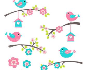 Bird clipart spring flower Art Clip on Clip bird