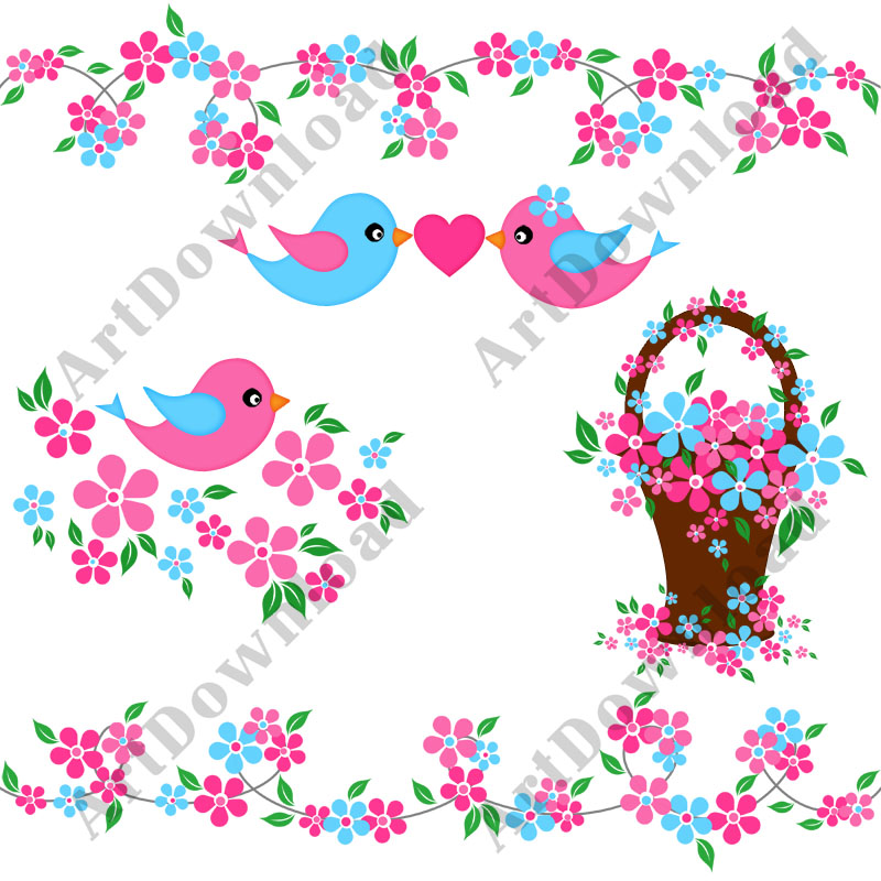 Blue Flower clipart pink flower Digital Birds Birds Blue