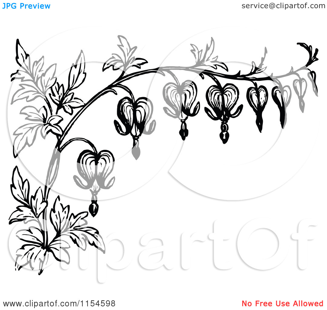 Vintage Flower clipart small flower Bleeding heart White Flowers stylized
