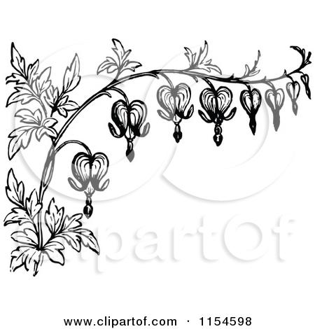 Vintage Flower clipart border line #5