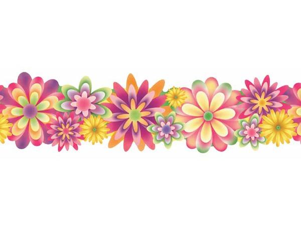 Blue Flower clipart horizontal flower border Flowers Flower border kid border