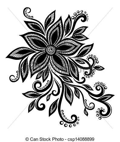 Drawn photos lace flower  white and and with