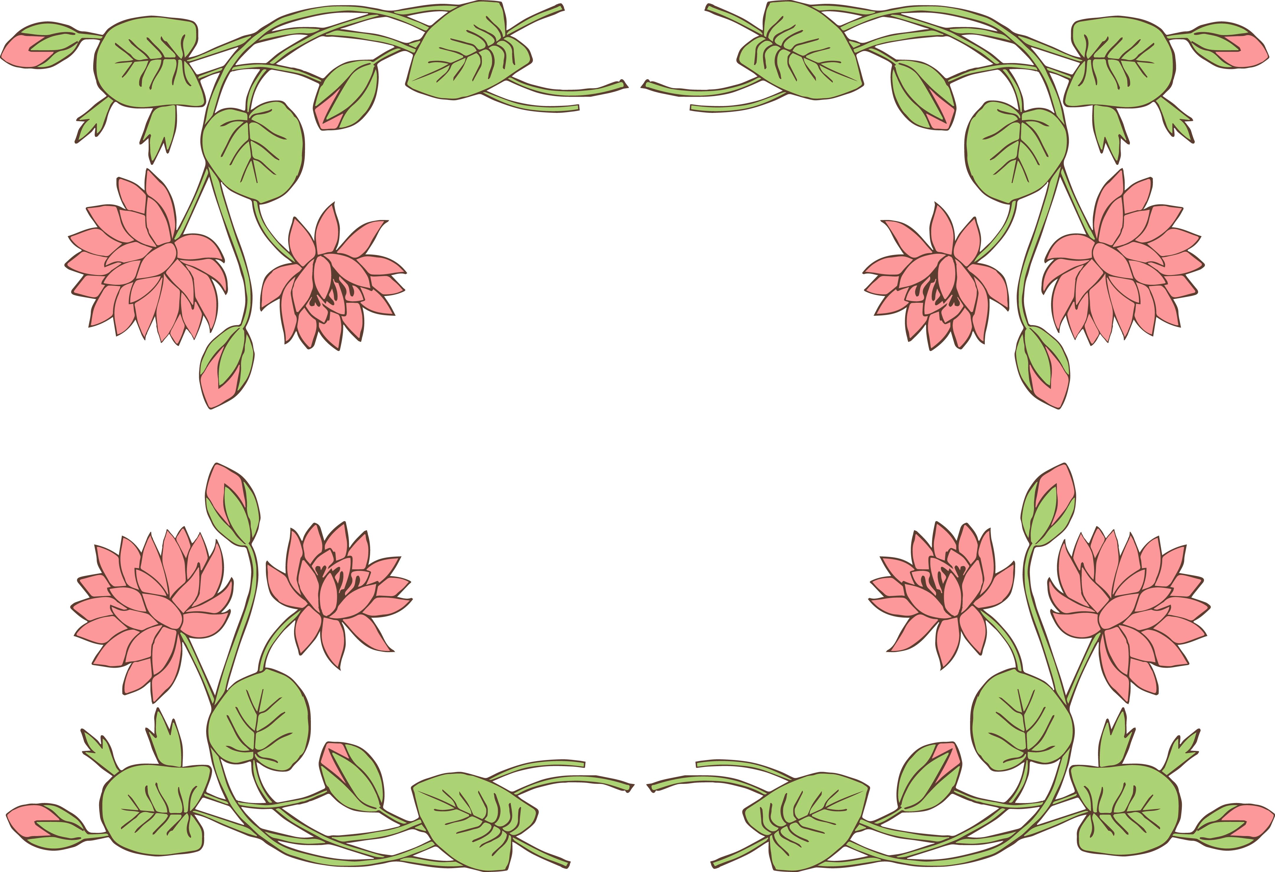 Vintage Flower clipart border line #1