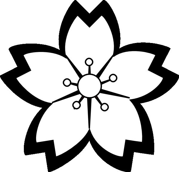 Blossom clipart black and white Art Flower Black  Sakura