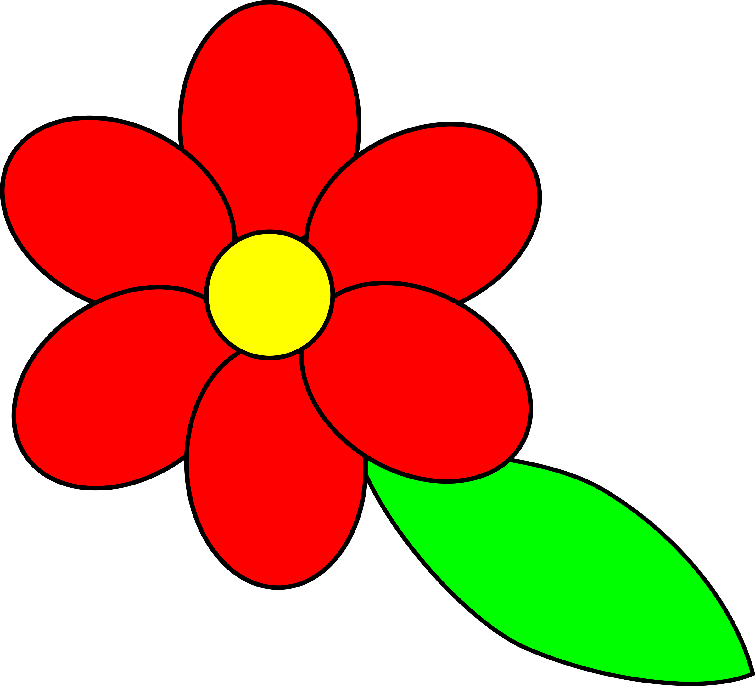 Red Flower clipart outline #1