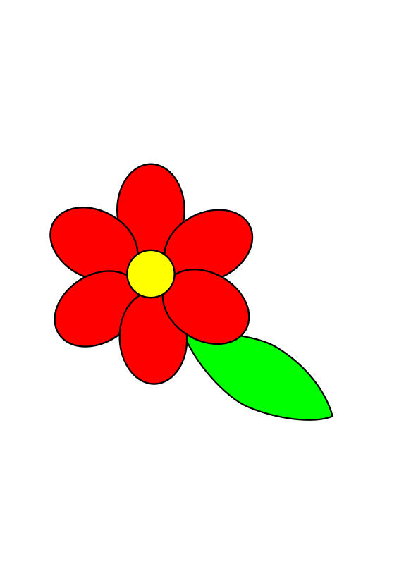Red Flower clipart six petal #9