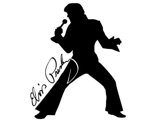 Elvis Presley clipart Elvis Silhouette Profile Singing Details Uhr ® WandTattoo