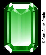 Emerald clipart small colored gem stone shape Render of 6 Emerald isolated