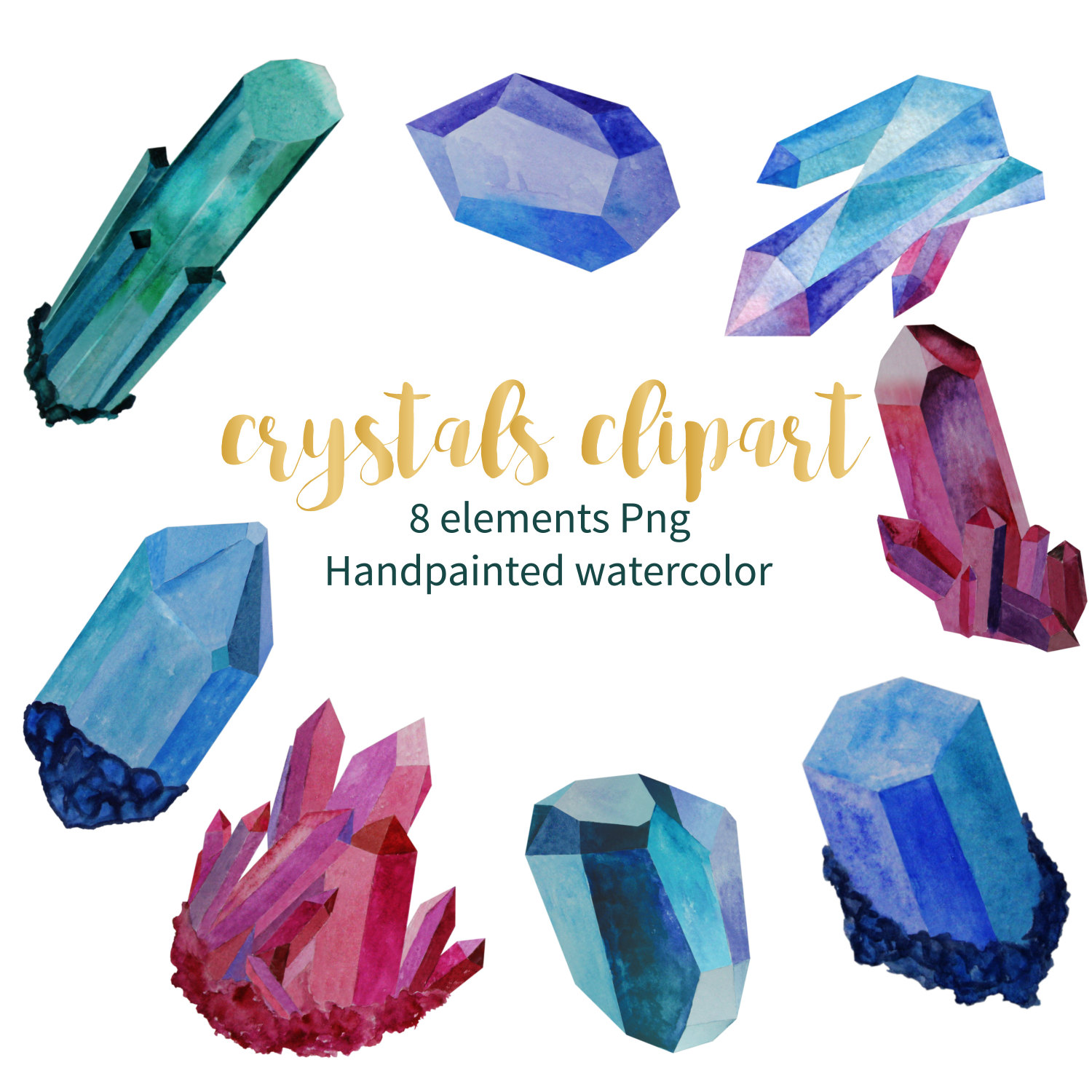 Emerald clipart quartz crystal Crystal ClipArt a Watercolor digital
