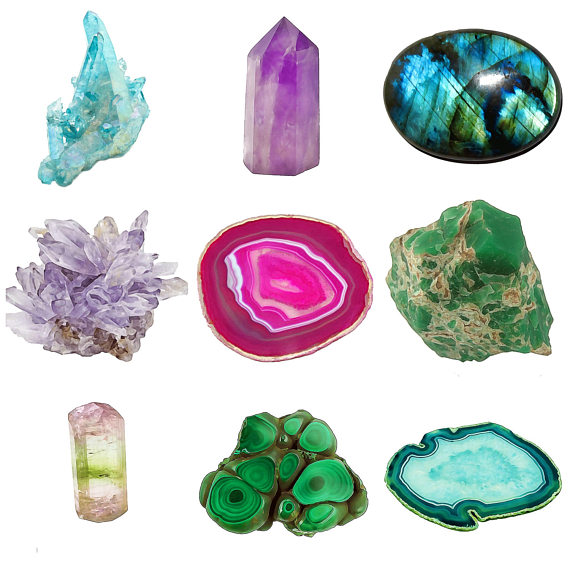 Emerald clipart quartz crystal Slices agate gems clip a