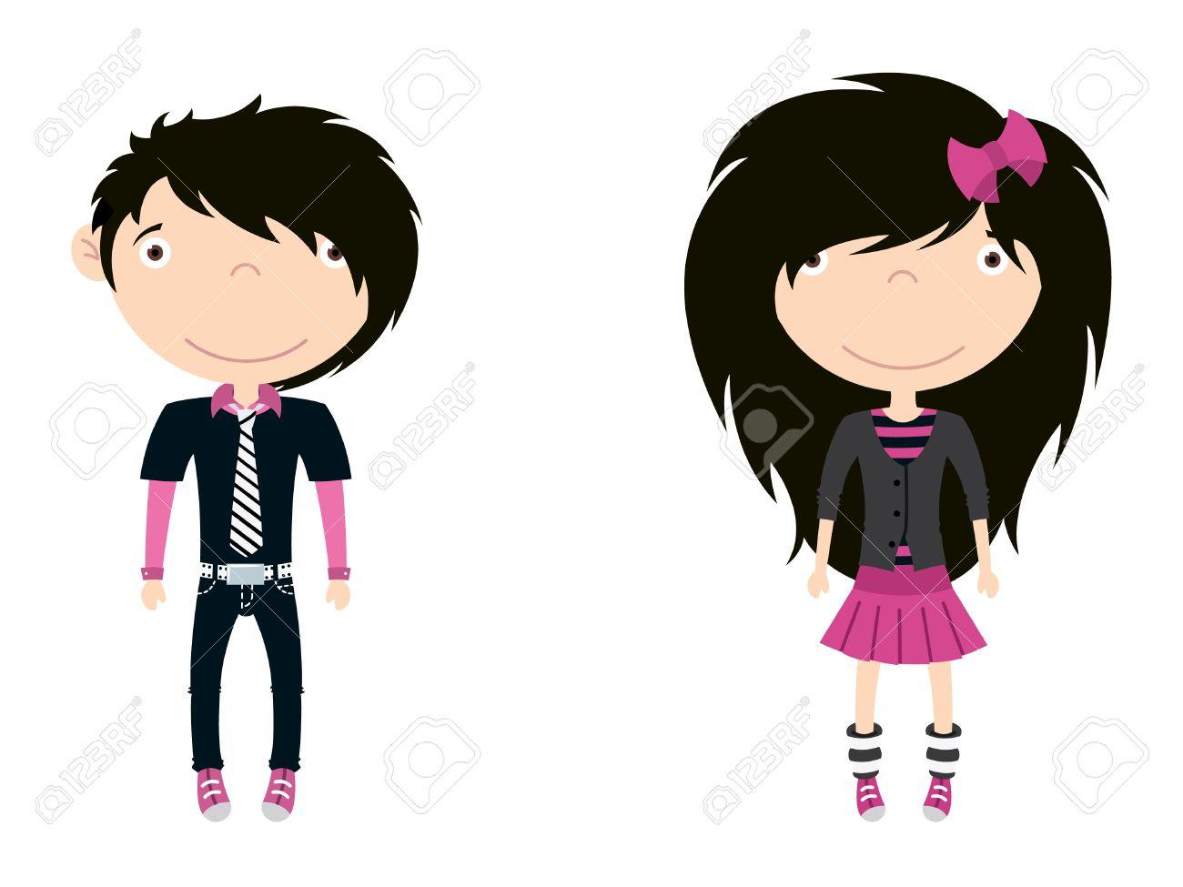 Pink Hair clipart cute person #14