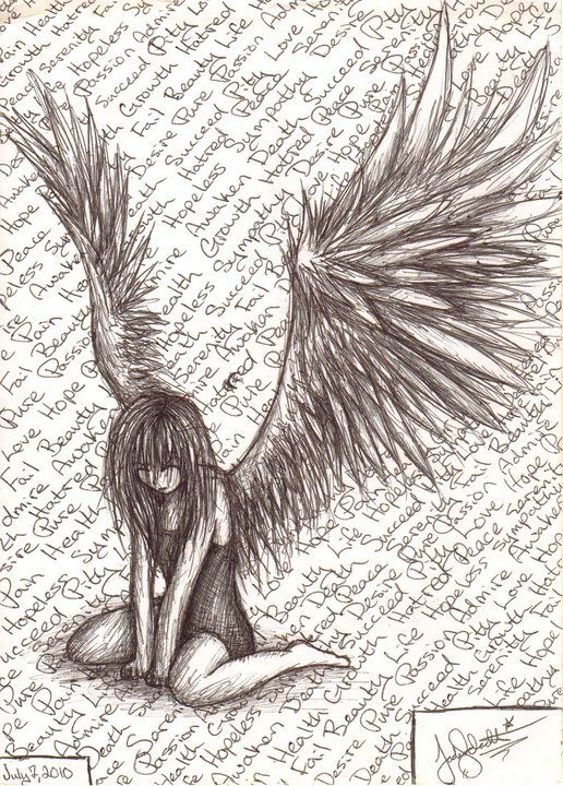 Emo clipart tribal Pinterest angel Fallen by on