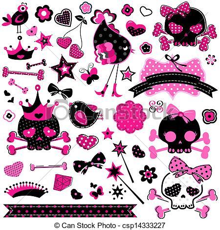 Ssckull clipart emo Set vector Art skulls 1
