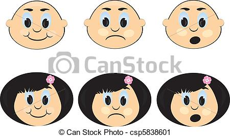 Emotions clipart childrens faces With  a Children's Children's