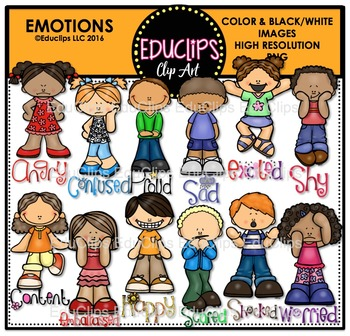 Emotional clipart teacher Educlips Bundle Emotions Clip Art