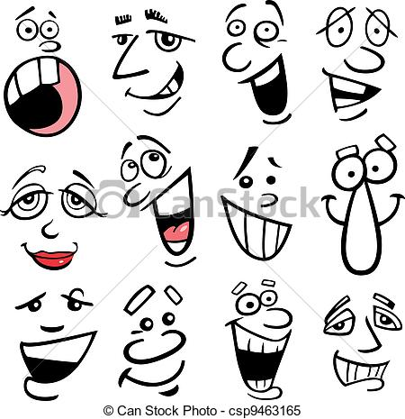 Emotions clipart animated faces Faces csp9463165 emotions Cartoon illustration