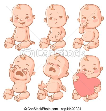 Baby clipart emotion Set of baby  Vector