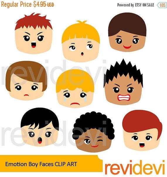 Feelings clipart basic Faces Emotion Faces digital clipart