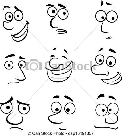 Emotions clipart cartoon face Cartoon faces Clipart Vector faces