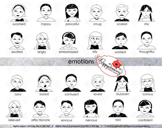 Emotions clipart curious Feelings Clipart K Digital Emotions
