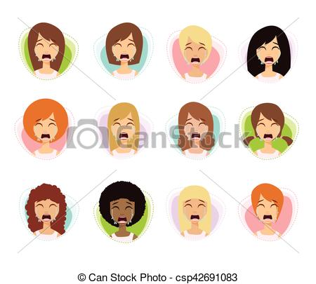 Emotions clipart depressed Emotions of Sadness Girl Vector